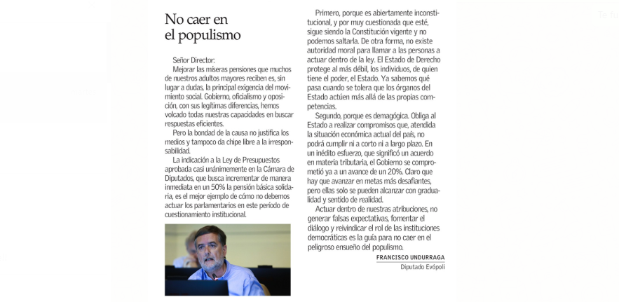 Carta al Director: «No caer en populismos»